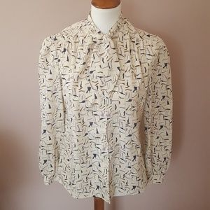 Vintage 90s Button Down Pussy Bow Blouse